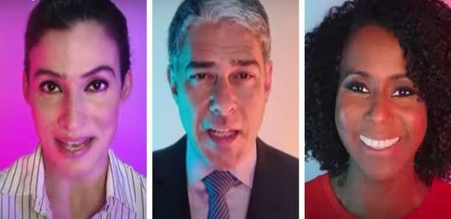 Renata Vasconcellos, William Bonner e Maju Coutinho na campanha: reforço à liderança do canal entre as TVs brasileiras