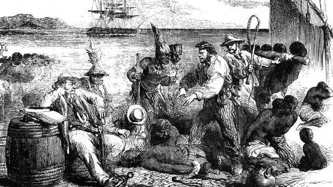 Venda e marcações de escravos antes de serem embarcados em um navio, 1965