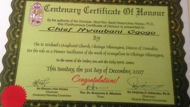 Nwaubani Ogogo doou terras para missionários cristãos