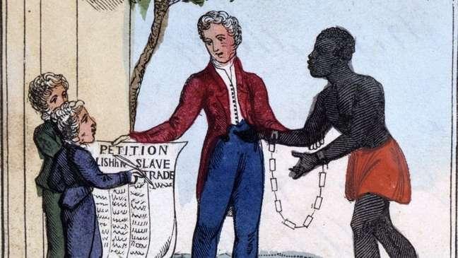 """Petição para abolir o comércio de escravos. 'Venha, ouça meus cantores melancólicos, / Vós ternos corações e filhos queridos! / E, caso isso mova suas almas para compaixão, / Oh! tente acabar com as dores que ouvir. De Ameilia Opie """"O lamento do homem negro; ou como fazer açúcar"""", Londres, 1826"""