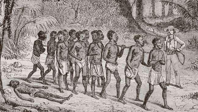 Gravura de 1868 mostra grupo de africanos capturados sendo levados embora por um escravo branco