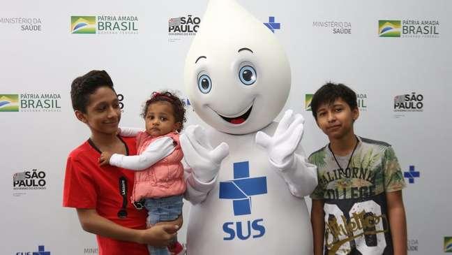 Zé Gotinha em campanha de vacinação em SP, ano passado.