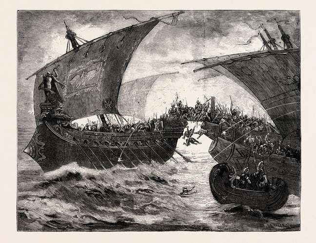 A frota de Cleópatra e Marco Antonio ficou presa em águas mortas durante a Batalha de Accio?