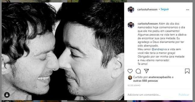 No último Dia dos Namorados, Carlos Tufvesson fez declaração de amor a André Piva em post no Instagram