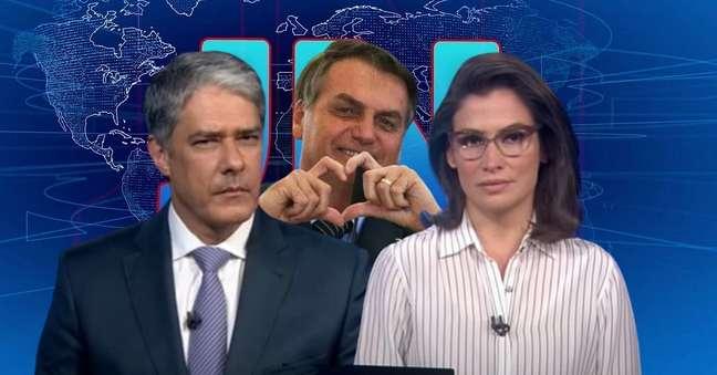 Mais contido, Bolsonaro ganhou um afago da Globo na bancada ocupada por seu 'inimigo' William Bonner e Renata Vasconcellos