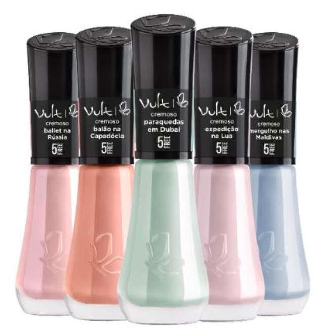 Esmaltes nos tons candy colors da Vult: cores podem ser usadas de maneira misturada para o efeito tie-dye