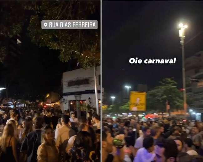 Vídeos compartilhados no Instagram com a localização da rua Dias Ferreira mostram clima de carnaval