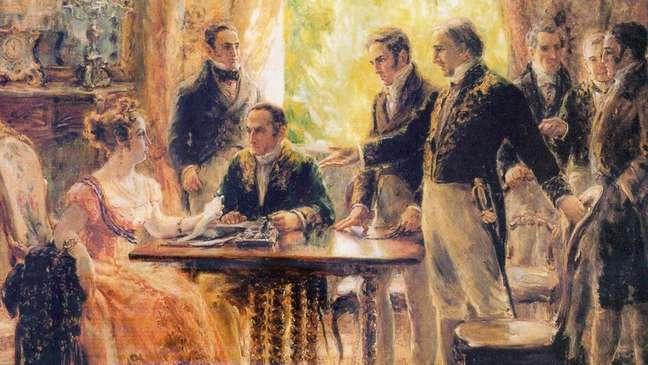 Reunião de Leopoldina com o Conselho de Ministros em 2 de setembro de 1822; escritores têm reivindicado a ela uma imagem menos passiva na história nacional   Foto: domínio público
