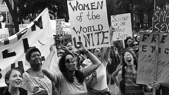 Manifestação do movimento pelos direitos das mulheres em Washington em 1970