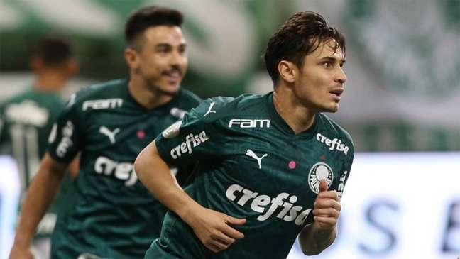 Raphael Veiga marcou o primeiro gol do jogo (Foto:Cesar Greco/Palmeiras)