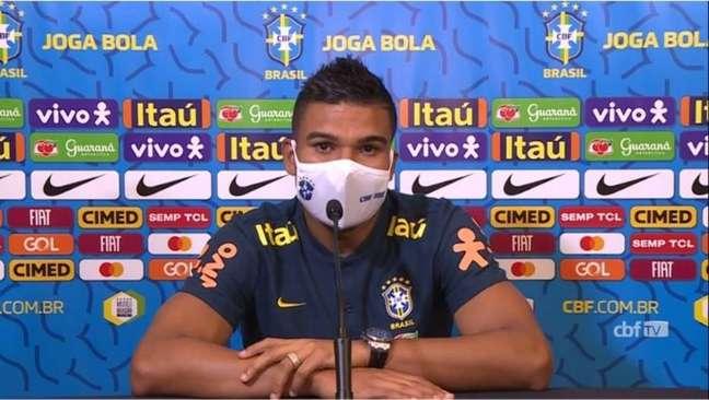 Casemiro, na últimacoletiva da seleção antes da estreia contra a Bolívia