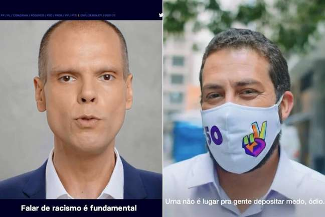 Bruno Covas (PSDB) e Guilherme Boulos (PSOL) na estreia do horário eleitoral do segundo turno.