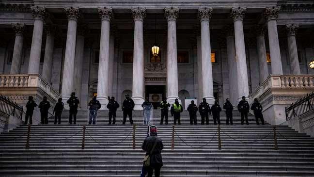 Nesta quarta-feira, a proteção do Congresso esteve principalmente a cargo da Polícia do Capitólio