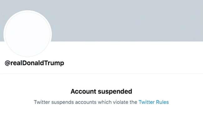 Agora, perfil de Trump no Twitter está sem imagem e com aviso de 'conta suspensa'