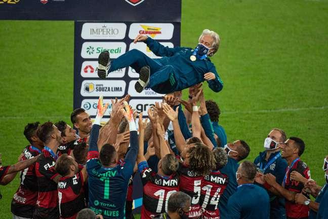 Jorge Jesus fez história no Flamengo com título brasileiro e da Libertadores (Foto: Divulgação/Alexandre Vidal)