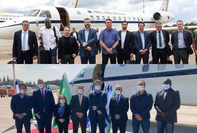Fotos da partida, sem máscara, e da chegada da comitiva brasileira a Israel, onde passou a usar o equipamento.