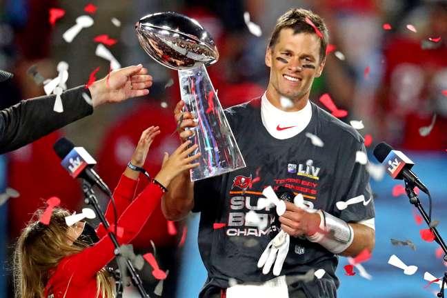Tom Brady no Super Bowl com o Tampa Bay Buccaneers  7/2/2021   Mark J. Rebilas-USA TODAY Sports
