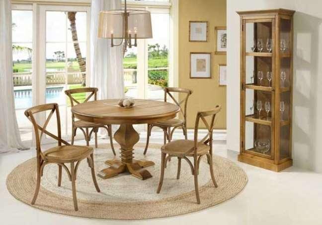 22. Cristaleira pequena de madeira para sala de jantar rustica – Foto Casa da Iza