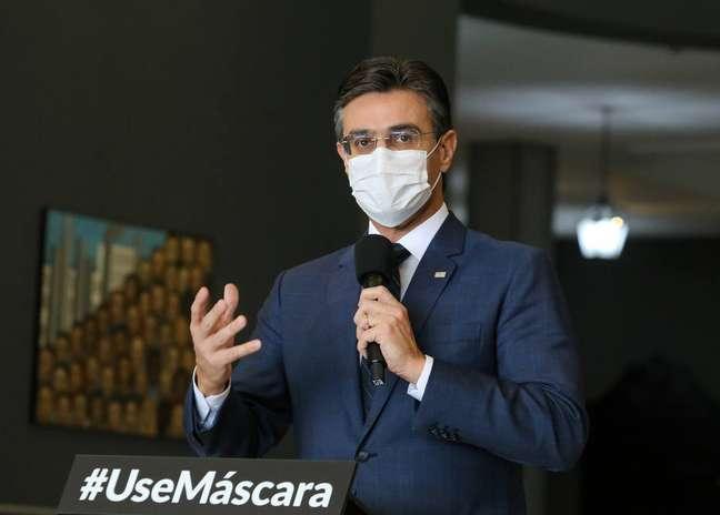 Rodrigo Garcia, vice-governador de São Paulo, em entrevista coletiva no Palácio dos Bandeirantes