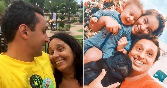 Pedro Neville e sua mãe, dona Lilian; e com a mulher, Maria Fernanda, o filho Benjamin e a 'filha' Biga