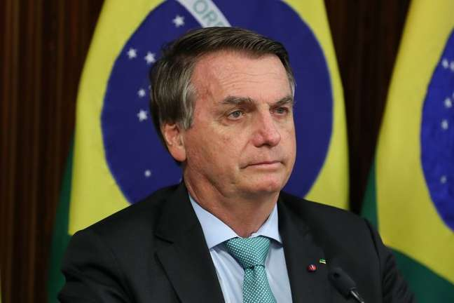 Presidente Jair Bolsonaro participa de cúpula virtual sobre o clima em Brasília 22/04/2021 Marcos Correa/Presidência da República via REUTERS