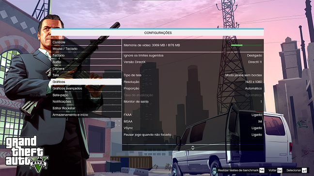 Todas as otimizações de vídeo se encontram nas configurações