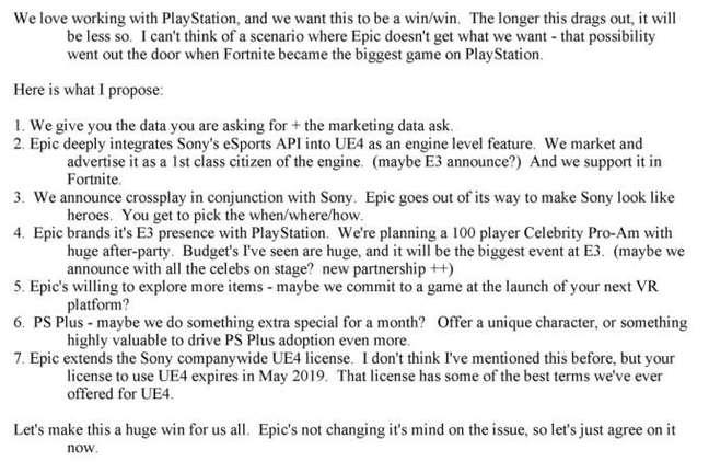 E-mail de Joe Kreiner, da Epic Games, propondo cross-play em Fortnite
