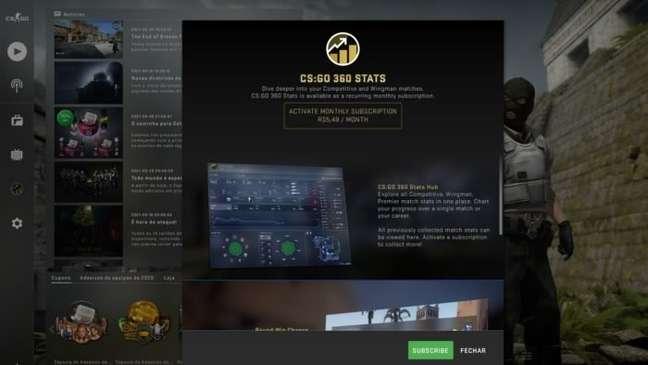 CS:GO 360 Stats custa R$ 5,49 por mês