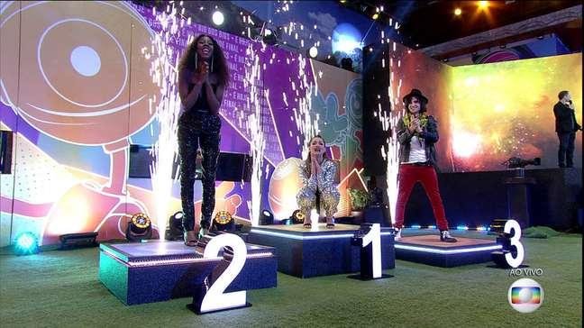 Final do BBB 21 com apresentação de Tiago Leifert e com os finalistas Fiuk, Juliete e Camila.