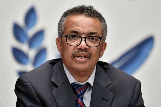 Diretor-geral da OMS, Tedros Adhanom Ghebreyesus 3/7/2020 Fabrice Coffrini/Pool via REUTERS