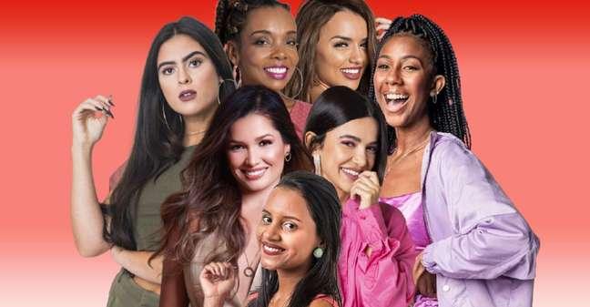 Em sentido horário: Gleici Damasceno ('BBB18'), Juliette Freire ('BBB21'), Hana Khalil ('BBB19'), Thelma Assis ('BBB20'), Rafa Kalimann ('BBB20'), Camilla de Lucas ('BBB21') e Manu Gavassi ('BBB20'): sisters com forte discurso feminista no reality show
