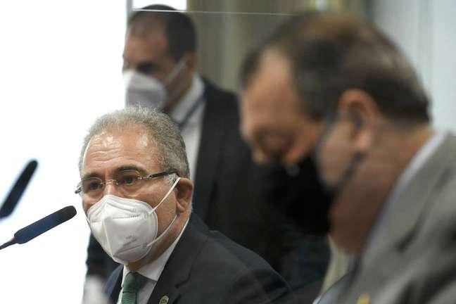 O ministro da Saúde, Marcelo Queiroga, durante depoimento na CPI da Covid