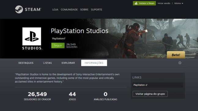 Página de criador do PlayStation Studios no Steam