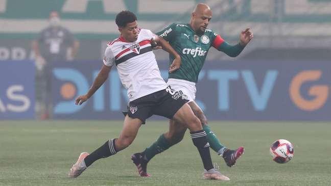 Felipe foi substituído no intervalo da final do estadual (Foto: Cesar Greco/Palmeiras)