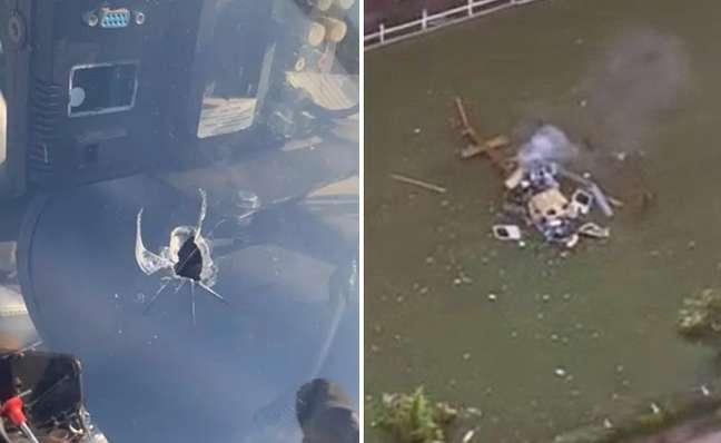 O buraco do tiro que atingiu piloto, no Rio, e o flagra feito peloGlobocopda queda da aeronave da Record em 2010