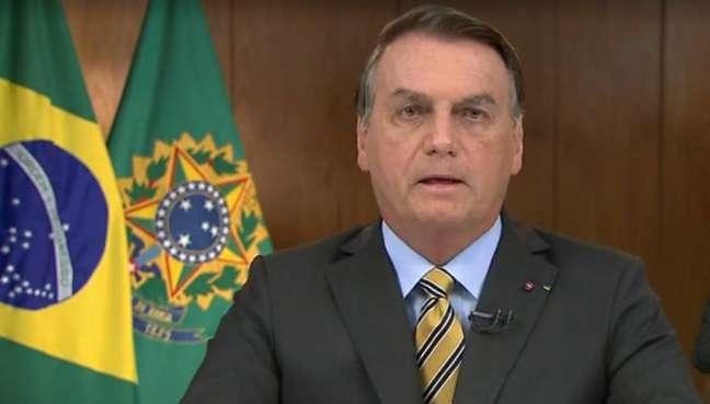 O presidente Jair Bolsonaro em pronunciamento nesta quarta-feira, 2