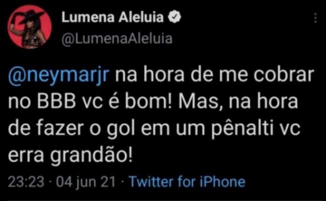 Tuíte excluído por Lumena criticando Neymar após não converter a cobrança de pênalti (Reprodução / Twitter)