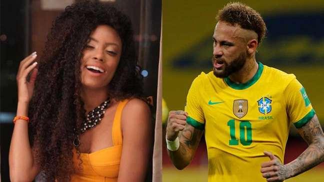 Lumena Aleluia participou do 'BBB 21' e foi criticada por Neymar nas redes sociais durante o programa; na partida de sexta-feira, foi a vez de Lumena criticar Neymar na web (Montagem LANCE!)