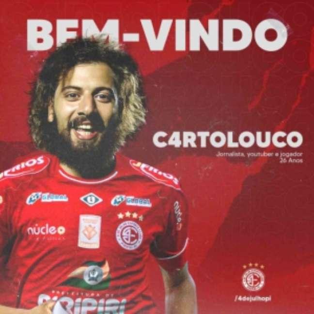 Cartolouco é anunciado por novo clube (Reprodução / YouTube)