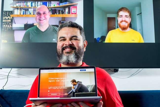 Tiago Assumpção, Josemando Sobral e Patrick Costa: trio da Unxpose quer democratizar a proteção digital