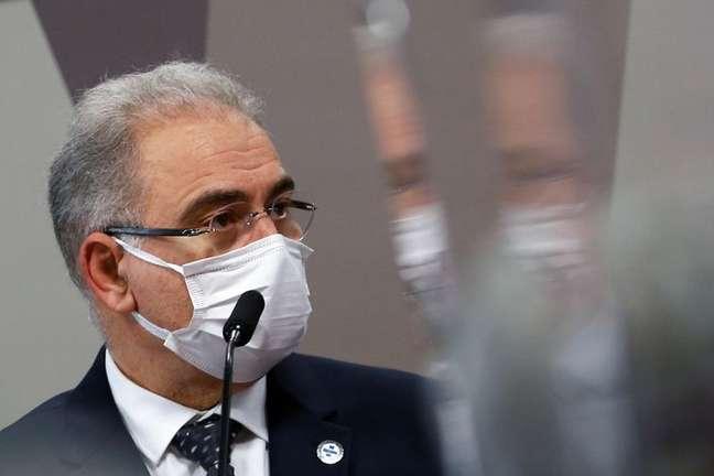 Ministro da Saúde, Marcelo Queiroga, durante depoimento à CPI da Covid no Senado 08/06/2021 REUTERS/Adriano Machado