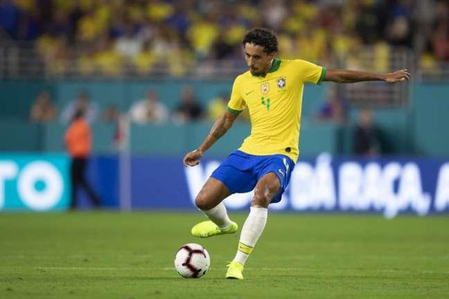 Marquinhos é zagueiro do Brasil (Foto: Lucas Figueiredo/CBF)