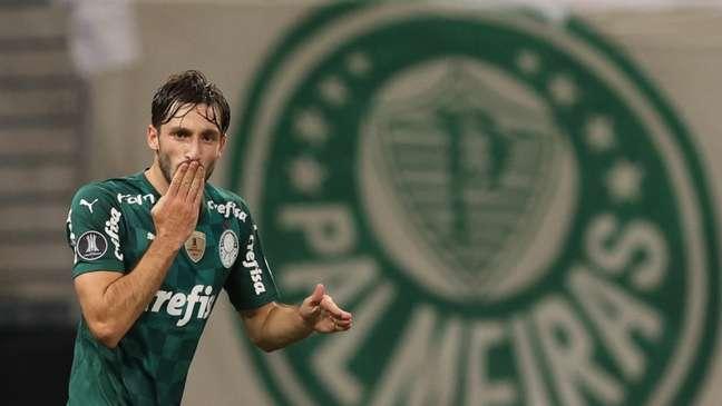 Matías Viña comemora seu gol contra o Universitario no Allianz Parque (Foto: Cesar Greco/Palmeiras)