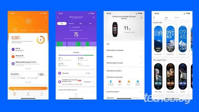Telas do aplicativo Mi Fit da Xiaomi Mi Band 6
