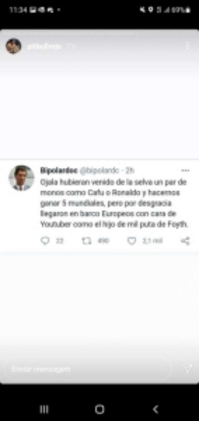 Tuíte racista compartilhado por Marcelo Rojo (Reprodução / Instagram)