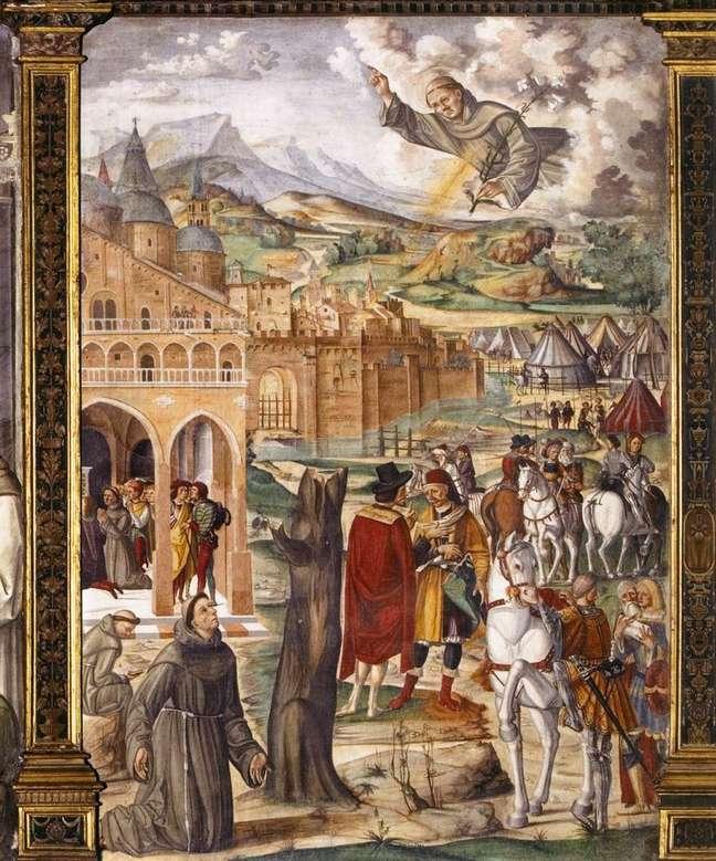 Afresco atribuído ao pintor Filippo da Verona e provavelmente feita em 1510 mostra Santo Antônio em aparição a seu confrade e seguidor Luca Belludi.