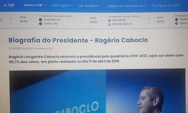Site da CBF retirou biografia de Caboclo, o presidente afastado