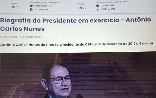Coronel Nunes agora é destaque no site da CBF