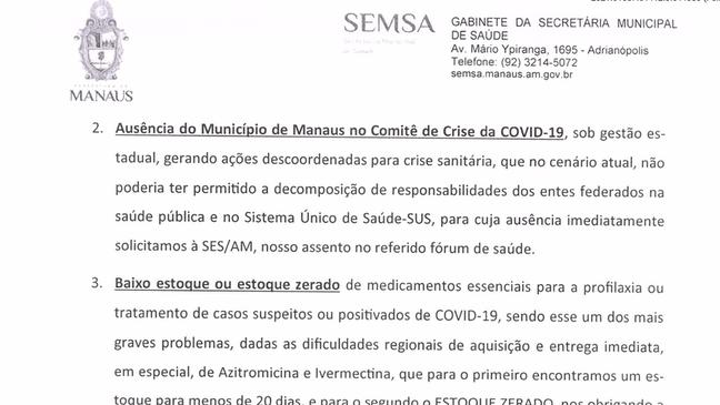 """Em ofício enviado em 14 de janeiro ao Ministério da Saúde, Secretaria de Saúde de Manaus diz que ivermectina e azitromicina são """"medicamentos essenciais"""" para tratar covid-19"""