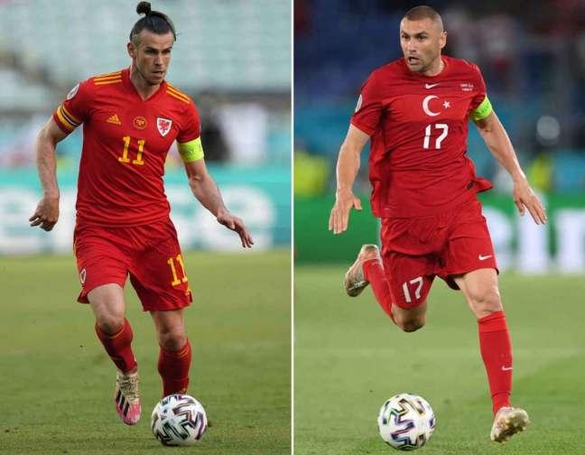 Bale e Yilmaz são os principais nomes de suas seleções (Foto: MIKE HEWITT, DARKO VOJINOVIC / AFP)